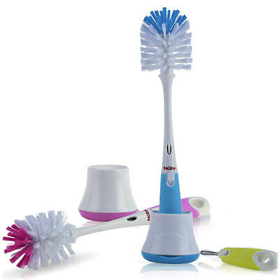 Nuby 2-in-1 Bottle & Nipple Brush With Stand BPA Free Pink Green Blue NEW