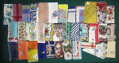 Unusual lot of 36 vintage women's hankies handkerchiefs many never used