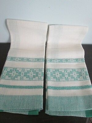 2 Vintage Off White & Green Hand Woven Fingertip Guest Towels T-Towels