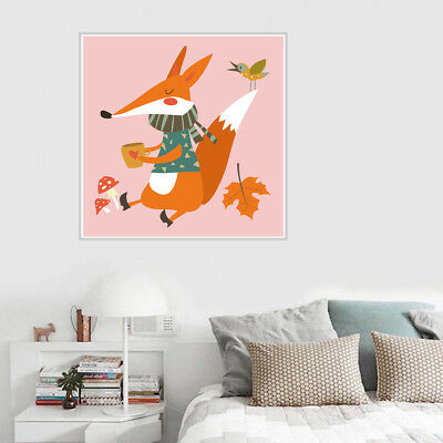 Nordic Cute Fox Animal Canvas Art Painting Poster Baby Room Home Wall Decor Gift