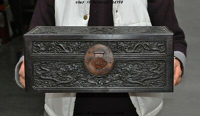 Rare old chinese Black Rosewood hand-carved 10 dragon Storage box Treasure boxes