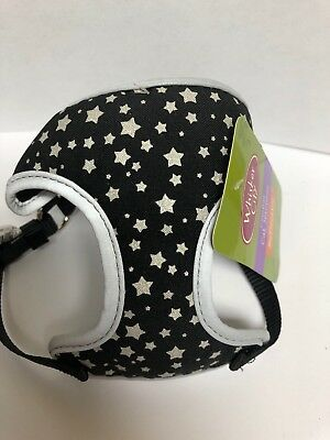 Whisker City Comfort Cat Harness Black Reflective Silver Stars Girth 13 - 16""