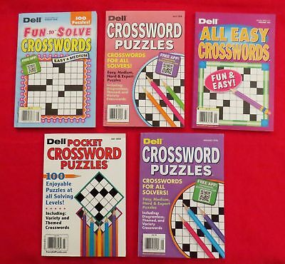 Mixed Lot of 5 DELL CROSSWORDS Various Solving Levels 2018 Issues Retails $20.95