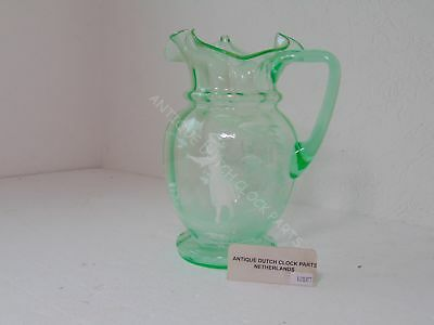 Antique Mary Gregory Decanter Green Glass