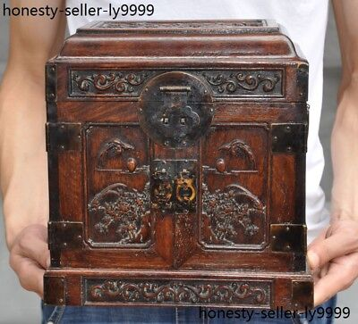 """10""""Old chinese Boxwood wood carving flower bird Magpie Storage Box Jewelry boxes"""