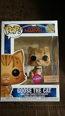 Funko Pop! Captain Marvel Box Lunch Exclusive GOOSE THE CAT Flocked #426, New