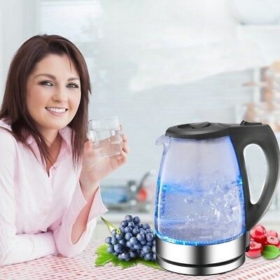 9'' inch Illuminated Glass Kettle Electric Fast Boil Cordless Jug 2200W 1.7L USA