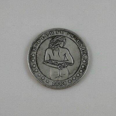 GIRLS & GUNS Hobo Coin collectible carved style lady head dollar size token