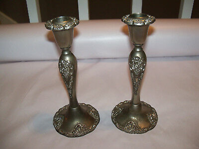 Set Of 2 Godinger Silver Plate 20th Century Baroque 8 1/4 Inch Tall Candlesticks