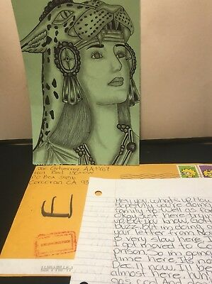 Prison Art Drawing Beautiful Aztec Warrior Princess With Letter From Inmate