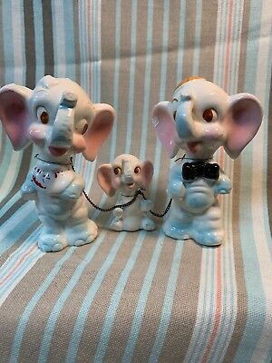 Vtg ELEPHANT Family Momma & Papa W/Baby on a Chain /Trunks Up With Blue Spots