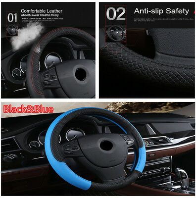 Black&Blue Micro Fiber Leather Car Steering Wheel Cover Pad Styling Sport Style