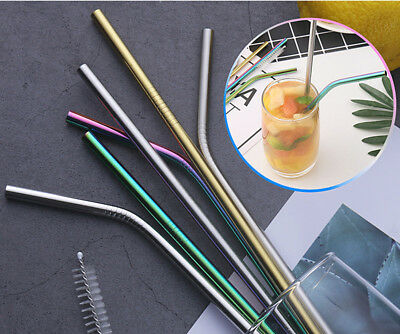 Premium Reusable Rainbow Stainless Steel Metal Drinking Straw Straws