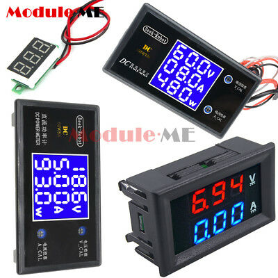 Digital DC 50V 5A 100V 10A Voltage Current Power Meter LCD Voltmeter Ammeter