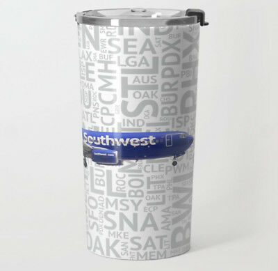 Southwest Airlines 737 with Airport Codes - Metal Travel Mug (20oz)