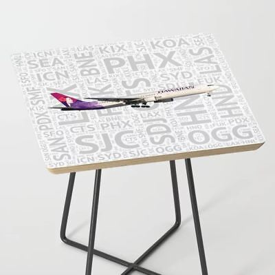 Hawaiian Airlines Boeing 767 with Airport Codes - Accent Table