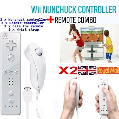 2X Remote and Nunchuck Controller WITH SILICONE CASE For NINTENDO WII Game*