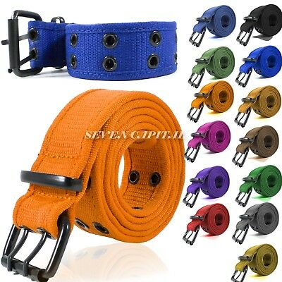 New 100% Cotton Canvas Double Grommet Hole Buckle Belt Men Women Causal Jeans