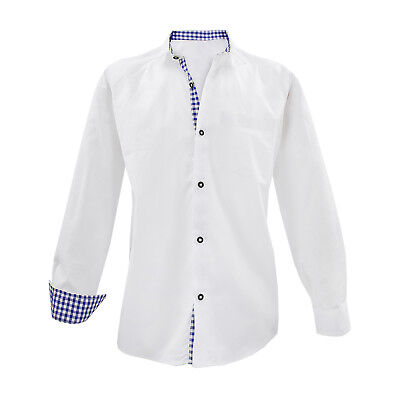 Traditional Costume Shirts Men White Long Sleeve Tari Cotton Blue Checkered