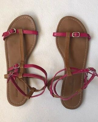 317865f07 Montego Bay Club Sandals Open Toes Flats Double Ankle Straps Pink Brown Size  9