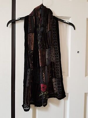 Pretty Black Velvet Silk Blend Burnout Scarf Nwot