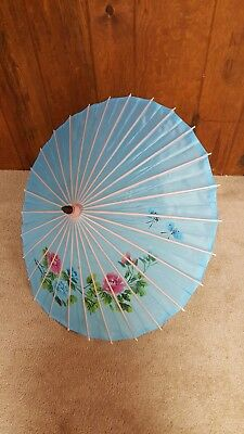 Vintage Silk Wood Oriental Parasol Umbrella Blue Bamboo Painted Floral Pattern