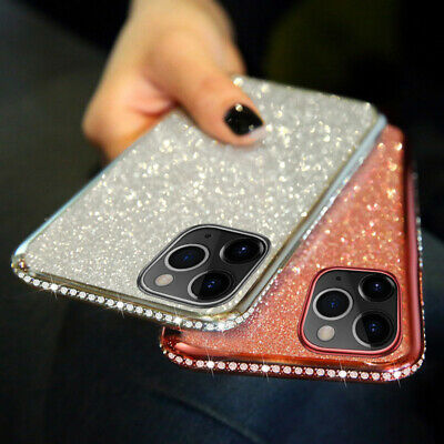 For Apple iPhone 11 Pro Max Xs 8 Bling Diamonds Plating Soft Silicone Case Cover