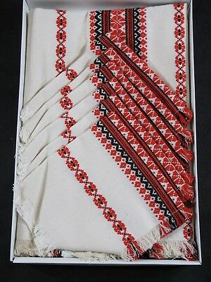 Rare Vintage Hungarian Weave Large Table Cloth Runner with Six Napkins New