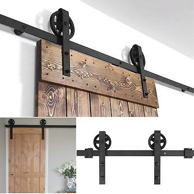 6.6 FT Sliding Country Style Barn Door Hardware Track Rail Kit w/ Rollers Black