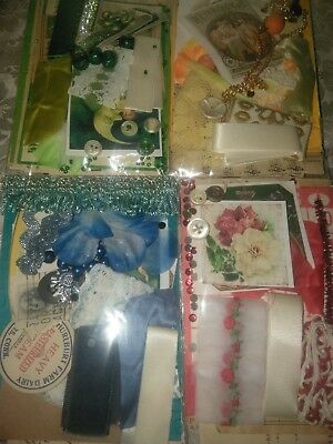 Vintage Lot of 4 Mini Scrap Pack Art Collage Junk Journal Kit Ephemera