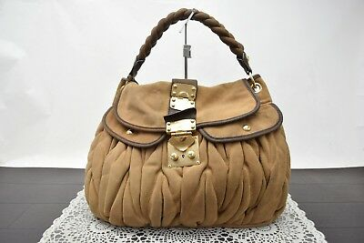 Authentic Miu Miu Hand Bag Browns Suede Leather 342956 2807b42286915