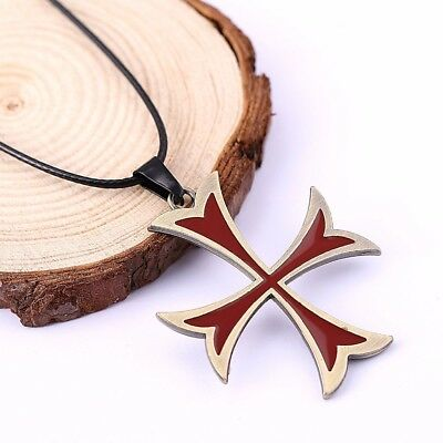 Assassins Creed 3 Templar Necklace Alloy Shape Pendant Leather Chain Necklaces