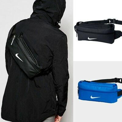 Nike Team Training Waist Pack Sports Bag Travel Hiker Black Blue BA4925-001
