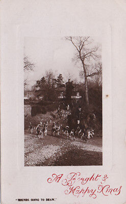 "Greeting postcard ""Hounds Going To Draw"" Horse & Hounds ~ Foxhunting"