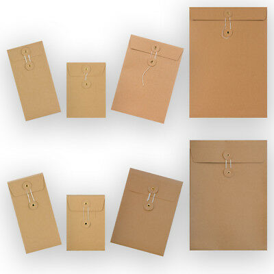 Strong Manilla String & Washer Document Storage Bottom&Tie Envelopes All Sizes