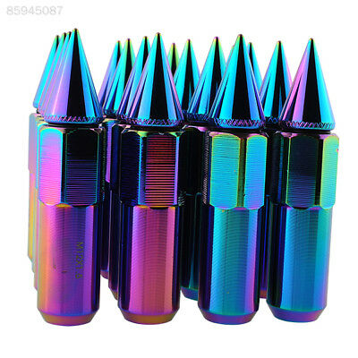 671E 16pcs NEO Chrome Spiked 90MM Extended Tuner Lug Nuts For Wheels Tyre Tire