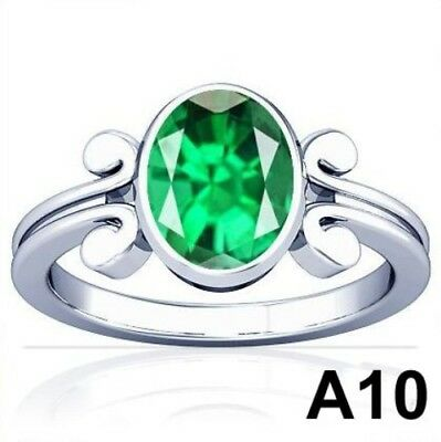 5-11 CT Natural Columbian Emerald Vedic Sterling Silver Ring Top Quality A10  PL
