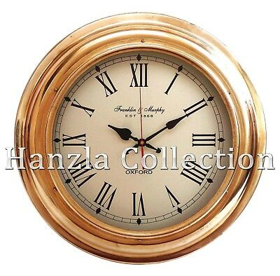 "17"" Nautical Brass Wall Clock Made For Franklin & Murphy Ship's Beach Home Decor"