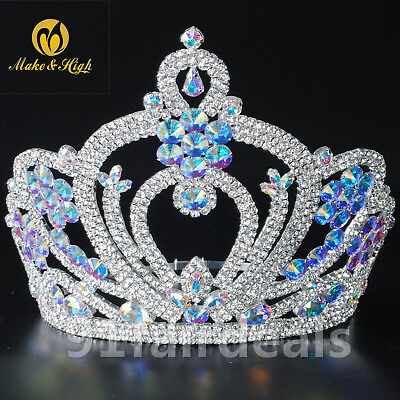 Vintage Pageant Beauty Crown Full Circle Round Tall Tiara Wedding Prom Diadem