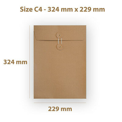 C4 Manilla String & Washer With Gusset Bottom & Tie Envelopes Free P&P