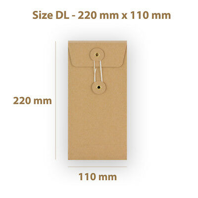 DL Manilla String & Washer With Gusset Bottom & Tie Envelopes Free P&P
