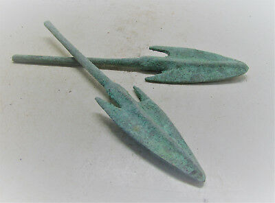Set Of Two Ancient Greek Bronze Barbed Arrowheads. Battle Relics