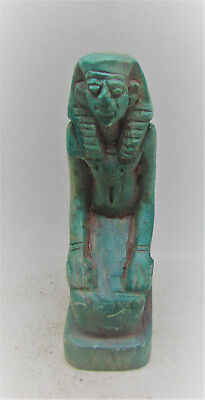 Beautiful Ancient Egyptian Glazed Faience Statuette Kneeling Pharaoh