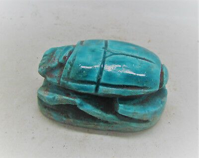 Beautiful Ancient Egyptian Glazed Faience Scarab With Heiroglyphics