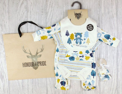 "Baby Boys Layette Set "" In The Woods "" Clothing Outfit  Set & Gift Bag"