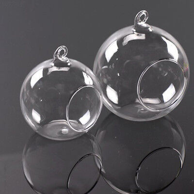 2FF7 0B27 Style HANGING GLASS BAUBLE SPHERE BALL CANDLE TEA LIGHT HOLDER VASE.