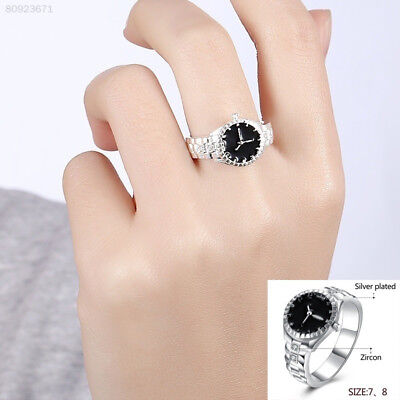 7580 Fashion Women 925 Silver Finger Ring Watch Alloy Personality Jewelry Gift