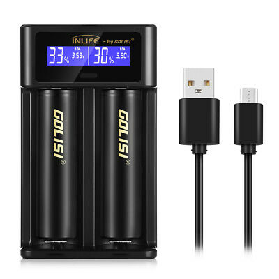 i2 Smart LCD Battery Charger USB Batterie Chargeur Rechargeable for 18650 18500