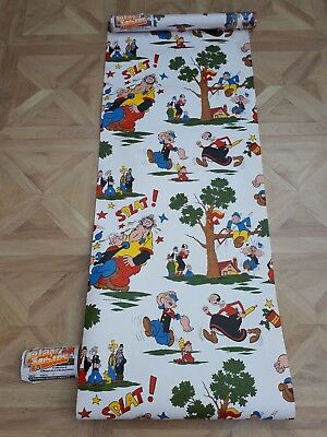 Rare! Vtg RETRO 1980s x2 Rolls of Wallpaper Coloroll~Playmates POPEYE 20m Crafts