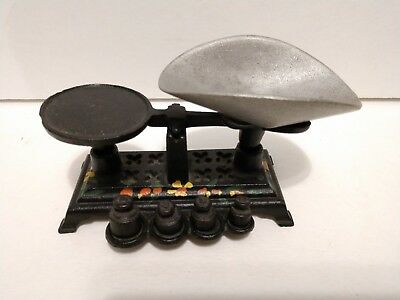 Vintage Small Miniature Black Cast Iron Balance Scale Complete Hand Painted